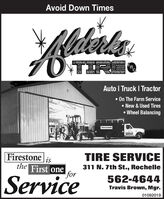 Avoid Down TimesRederksOTIREAuto I Truck I Tractor On The Farm Service New & Used Tires Wheel BalancingRAETreeseFirestoneisTIRE SERVICEthe First one311 N. 7th St., RochelleforService562-4644Travis Brown, Mgr.01092019 Avoid Down Times Rederks OTIRE Auto I Truck I Tractor  On The Farm Service  New & Used Tires  Wheel Balancing RAE Treese Firestone is TIRE SERVICE the First one 311 N. 7th St., Rochelle for Service 562-4644 Travis Brown, Mgr. 01092019