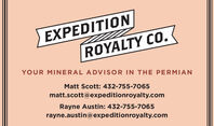 EXPEDITIONROYALTY CO.YOUR MINERAL ADVISOR IN THE PERMIANMatt Scott: 432-755-7065matt.scott@expeditionroyalty.comRayne Austin: 432-755-7065rayne.austin@expeditionroyalty.com EXPEDITION ROYALTY CO. YOUR MINERAL ADVISOR IN THE PERMIAN Matt Scott: 432-755-7065 matt.scott@expeditionroyalty.com Rayne Austin: 432-755-7065 rayne.austin@expeditionroyalty.com