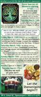 McColley's is an Irish Pub right off the canal in Spencerport.Drink Specials AllWeekend starting3/12!!$5 Guinness andSmithwick pints!We will also have Irish Coffee,Mimosas, Irish Car Bombs,Jameson and Tullamore Dew!!Thursday March 12th-It's Pint Night and for themonth of March the featuredbeer will be Guinness and Smithwicks! 5-8pm- $1 off aCCOLLOUASpencerpoRt n.y.pint and you get to keep a glass!March 12th- SPECIAL EVENT- get your pictureon top of your Guinness draft 6-8pm! 7-9pmis Open Mic night with host Dave Brajcki!Friday March 13th- Kicks off our Irish Menu forthe weekend but don't worry... We will have RohrbachFish Fry and Salt & Vinegar Crusted fish availablefor Lent!! Early Bird prices for fish fries- 12-6pm!!Saturday March 14th- We will be offeringbreakfast from 9-11:30am. Traditional Corned Beefand Cabbage dinner will be available starting at11:30am!!Musical guest Saturday night 7-10pm- David Brajcki ofThe Jasper Stills and our talented Open Mic host!!Sunday March 15th- Let's start the day off withMimosas and Bloody Marys! Open at Noon! Our Irish menuincluding traditional corned beef and cabbage dinner!!Musical guest Sunday evening is Patrick Glantz Acoustic- 6-9pm!!Monday: Open at 11:30am!!Tuesday March 17th!!The day we waitall year for!!Open at 9:0am for breakfast!!GUR GUINNESS NESSLet theShenanigansbegin!!!17MARCH-THE FRIENDLIEST DAY OF THE YEAR89 S. Union St., Spencerport  585-617-4279 McColley's is an Irish Pub right off the canal in Spencerport. Drink Specials All Weekend starting 3/12!! $5 Guinness and Smithwick pints! We will also have Irish Coffee, Mimosas, Irish Car Bombs, Jameson and Tullamore Dew!! Thursday March 12th- It's Pint Night and for the month of March the featured beer will be Guinness and Smithwicks! 5-8pm- $1 off a CCOLLOUA SpencerpoRt n.y. pint and you get to keep a glass! March 12th- SPECIAL EVENT- get your picture on top of your Guinness draft 6-8pm! 7-9pm is Open Mic night with host Dave Brajcki! Friday March 13th- Kicks off ou