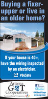 Buying a fixer-upper or live inan older home?If your house is 40+,have the wiring inspectedby an electrician.#BeSafeArizonaVisit us onG&TCooperativesFacebooktwitter@AZGandTCoopswww.azgt.coopTouchstone Energy Cooperatives Buying a fixer- upper or live in an older home? If your house is 40+, have the wiring inspected by an electrician. #BeSafe Arizona Visit us on G&T Cooperatives Facebook twitter @AZGandTCoops www.azgt.coop Touchstone Energy Cooperatives