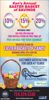 """Ken's AnnualEASTER BASKETof SAVINGS10%15% """" 20%ORORMATERIAL ONLYOR FREE #8 PAD ORFREE INSTALLATION OR FREE TAKE-UPPICK AN EGG FOR YOUR SAVINGS!REGISTER TO WIN ANEASTER BASKET OF CANDYDRAWING APRIL 9TH 4:00 P.M.NEED NOT DE PRESENT TO WIN. NO PURCNASE NECESSARYCUSTOMER SATISFACTIONFOR OVER 47 YEARS! Hardwoods  Laminates Vinyls  Ceramics CarpetRhodesPA Licf PA010439Carpet & InstallationEbe-lacalNETWORK408 S. Main Street, Washington, PA 153012019best724.229.5330TAITHACKLike Us Onfacebook TTHREE TIME WINNERwww.rhodescarpet.com Ken's Annual EASTER BASKET of SAVINGS 10% 15% """" 20% OR OR MATERIAL ONLY OR FREE #8 PAD OR FREE INSTALLATION OR FREE TAKE-UP PICK AN EGG FOR YOUR SAVINGS! REGISTER TO WIN AN EASTER BASKET OF CANDY DRAWING APRIL 9TH 4:00 P.M. NEED NOT DE PRESENT TO WIN. NO PURCNASE NECESSARY CUSTOMER SATISFACTION FOR OVER 47 YEARS!  Hardwoods  Laminates  Vinyls  Ceramics  Carpet Rhodes PA Licf PA010439 Carpet & Installation Ebe-lacal NETWORK 408 S. Main Street, Washington, PA 15301 2019 best 724.229.5330 TAITHACK Like Us On facebook T THREE TIME WINNER www.rhodescarpet.com"""