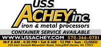 SSNACHEYinciron & metal processorsCONTAINER SERVICE AVAILABLEwww.USSACHEY.COM 570-366-0781M-F 8 AM - 4:30 PM  Sat 8 AM -12 PM  Sun - CLOSED355 East Second Mountain Road, Schuylkill Haven, PA 17972 SSN ACHEYinc iron & metal processors CONTAINER SERVICE AVAILABLE www.USSACHEY.COM 570-366-0781 M-F 8 AM - 4:30 PM  Sat 8 AM -12 PM  Sun - CLOSED 355 East Second Mountain Road, Schuylkill Haven, PA 17972