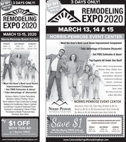$1 OFFADMISSIONLWITH AD3 DAYS ONLY!3 DAYS ONLY!$1 OFFADMISSIONWITH ADREMODELINGEXPO 2020REMODELINGEXPO 2020MARCH 13, 14 & 15MARCH 13-15, 2020NORRIS-PENROSE EVENT CENTERNorris-Penrose Event Center- Meet the Area's Best Local Home Improvement Companies!FRIDAYSATURDAYSUNDAYMAR. 13MAR. 14MAR. 1510AM-7PM 10AM-5PM2PM-7PM- Take Advantage of Exclusive Discounts!- Get FREE Estimates & Ideas!Top Experts All Under One Roof!Kitchens · Baths Custom RemodelingWindows - Siding - Roofing - DoorsSecurity · Solar - SunroomsRoom Additions · BasementsHeating & Air Conditioning Meet the Area's Best Local HomeCabinets · CountertopsImprovement Companies Get FREE Estimates & Ideas! Take Advantage of Discounts!Kitchens  Baths  Custom RemodelingWindows  Siding  Roofing  DoorsRoom Additions  New Construction & DesignHeating & Air Conditioning Spas CabinetsCountertops  Carpets & Hardwood FloorsSunrooms  Landscaping  Decks  PatiosCarpet & Hardwood FloorDecks · PatiosNew Home Construction& Much, Much More!NORRIS-PENROSE EVENT CENTERDirections: From I-25, Take Hwy 24 West to 8th St,;NORRIS PENROSE South on 8th St. to Rio Grande/Lower Gold Camp Rd.EVENT CENTERCOLORAD OSPRINGThis Season's Newest Products & IdeasAnd Much, Much More!Go West on W. Rio Grande/Lower Gold Camp Rd.$1 OFFSave $1COLORADO SPRINGS REMODELING EXPONORRIS-PENROSE EVENT CENTERWITH THIS ADFRIDAYSATURDAYSUNDAYOR One Senior FREE with adReg. Admission S3 - Children under 18 FREEMAR. 13or 1 Senior FREE!Regular Admission $3. Children Under 18 FreeMAR. 1410AM-7PMMAR, 152PM-7PM10AM-5PMwww.ColoradoSpringsRemodelingExpo.comwww.ColoradoSpringsRemodelingExpo.com $1 OFF ADMISSION LWITH AD 3 DAYS ONLY! 3 DAYS ONLY! $1 OFF ADMISSION WITH AD REMODELING EXPO 2020 REMODELING EXPO 2020 MARCH 13, 14 & 15 MARCH 13-15, 2020 NORRIS-PENROSE EVENT CENTER Norris-Penrose Event Center - Meet the Area's Best Local Home Improvement Companies! FRIDAY SATURDAY SUNDAY MAR. 13 MAR. 14 MAR. 15 10AM-7PM 10AM-5PM 2PM-7PM - Take Advantage of Exclusive Discounts! - Ge