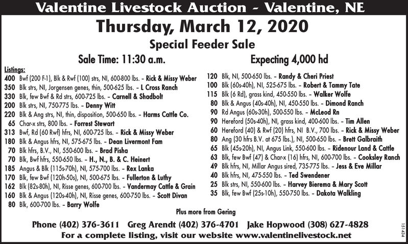 Valentine Livestock AuctionValentine, NEThursday, March 12, 2020Special Feeder SaleSale Time: 11:30 a.m.Expecting 4,000 hdListings:400 Bwf (200 F-1), Blk & Rwf (100) strs, NI, 600-800 lbs. - Rick & Missy Weber 120 Blk, NI, 500-650 lbs. - Randy & Cheri Priest350 Blk strs, NI, Jorgensen genes, thin, 500-625 lbs. - L Cross Ranch330 Blk, few Bwf & Rd strs, 600-725 lbs. - Carnell & Shadbolt200 Blk strs, NI, 750-775 lbs. - Denny Witt220 Blk & Ang strs, NI, thin, disposition, 500-650 lbs. - Harms Cattle Co.65 Char-x strs, 800 Ibs. - Forrest Stewart313 Bwf, Rd (60 Rwf) hfrs, NI, 600-725 lbs. - Rick & Missy Weber180 Blk & Angus hfrs, NI, 575-675 lbs. - Dean Livermont Fam70 Blk hfrs, B.V., NI, 550-600 lbs. - Brad Pisha70 Blk, Bwf hfrs, 550-650 lbs. - H., N., B. & C. Heinert185 Angus & Blk (115s-70h), NI, 575-700 lbs. - Rex Lanka170 Blk, few Bwf (120h-50s), NI, 500-675 lbs. - Fullerton & Luthy162 Blk (82s-80h), NI, Risse genes, 600-700 lbs. - Vandermay Cattle & Grain160 Blk & Angus (120s-40h), NI, Risse genes, 600-750 lbs. - Scott Divan80 Bik, 600-700 Ibs. - Barry Wolfe100 Blk (60s-40h), NI, 525-675 lbs. - Robert & Tammy Tate115 Blk (6 Rd), grass kind, 450-550 lbs. - Walker Wolfe80 Blk & Angus (40s-40h), NI, 450-550 lbs. - Dimond Ranch90 Rd Angus (60s-30h), 500-550 lbs. - McLeod Rn90 Hereford (50s-40h), NI, grass kind, 400-600 Ibs. - Tim Allen60 Hereford (40) & Rwf (20) hfrs, NI B.V., 700 lbs. - Rick & Missy Weber80 Ang (30 hfrs B.V. at 675 lbs.), NI, 500-650 lbs. - Brett Galbraith65 Blk (45-20h), NI, Angus Link, 550-600 lbs. - Ridenour Land & Cattle63 Bik, few Bwf (47) & Charx (16) hfrs, NI, 600-700 Ibs. - Cooksley Ranch49 Blk hfrs, NI, Millar Angus sired, 735-775 lbs. - Jess & Eve Millar40 Blk hfrs, NI, 475-550 lbs. - Ted Swendener25 Blk strs, NI, 550-600 lbs. - Harvey Bierema & Mary Scott35 Blk, few Bwf (25s-10h), 550-750 lbs. - Dakota WalklingPlus more from GeringPhone (402) 376-3611 Greg Arendt (402) 376-4701 Jake Hopwood (308) 627-4828For a complete listing, visit our we