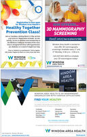 "Registration is now openfor Windom Area Health'sNOW OFFERING...Healthy TogetherPrevention Class!3D MAMMOGRAPHYSCREENINGJoin us Tuesdays, starting March 17-May 19 from4:30-5:30 p.m. Registration includes: 30-min.activity, access to dietitian and membership toBreast cancer has no place to hide.the Wellness Center for duration of the class.Windom Area Health is excited toClass is designed for those with hypertension,pre-diabetes or in need of weight loss help.now offer 3D mammographyscreenings! Available every 1"" and3rd Monday, 9:30 a.m.-2:00p.m.Class is limited to 12 participants! Call to registerwith Amber Hughes by March 10, 2020 at 507-831-0671.W WINDOM CjomeCall (507) 831-0670 to scheduleyour 3D mammogram today!TEELAREA HEALTHW WINDOMAREA HEALTHSANFORDwindomareahealth.orgWINDOMAREAHEALTHSANFORDHEALTHWINDOM AREA HEALTH IS AN INDEPENDENTORGANIZATION WITH VARIOUS AFFILIATIONS.FIND YOUR HEALTHYOur Outreach Cinic provides over s6 specialists from numerous helth systems andindependent practices Bringing our communties superior healthcare. close to homeCardiologyOrthopedicsPsychlatryEar, Nose & Throat-NEW!Ostomy CarePulmonologyGeneral SurgeryPain ManagementClinic-NEW!Respiratory Therapy-NEWINeurology-NEW!UrologyOphthalmologyPodiatryVascularSELF-REFERRALS ARE WELCOME!""Verty your insurance referal sequrementsFor questons about our Outreach Cinics or to schedule an appointment call B31-06saW WINDOM AREA HEALTH2150 Hospital Dr. Windom, MN 50101507-831-2400 