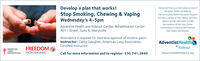 """Develop a plan that works!Stop Smoking, Chewing & VapingClasses are free as a community service ofAdventist Health and RideoutThe Community Health Education Programprovides a variety of free classes, seminars,support groups and events to helpWednesday's 4-5pmAdventist Health and Rideout Cardiac Rehabilitation Center401 I Street, Suite B, Marysvillethe residents of the Yuba-Suttercommunities to improve and maintaintheir health and lifestyle.Attendance is required for insurance approval of nicotine patchInstructor: Cathy Gaughan, American Lung Association,Certified Instructor.Adventist HealthRideoutAdventistHealthRideout.orgAMERICANLUNGASSOCIATION.FREEDOMFROM SMOKING""""Call for more information and to register: 530 741.3840 Develop a plan that works! Stop Smoking, Chewing & Vaping Classes are free as a community service of Adventist Health and Rideout The Community Health Education Program provides a variety of free classes, seminars, support groups and events to help Wednesday's 4-5pm Adventist Health and Rideout Cardiac Rehabilitation Center 401 I Street, Suite B, Marysville the residents of the Yuba-Sutter communities to improve and maintain their health and lifestyle. Attendance is required for insurance approval of nicotine patch Instructor: Cathy Gaughan, American Lung Association, Certified Instructor. Adventist Health Rideout AdventistHealthRideout.org AMERICAN LUNG ASSOCIATION. FREEDOM FROM SMOKING"""" Call for more information and to register: 530 741.3840"""