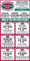 """ORDERINGONLINEVOCELLIFAMILY & PARTYSIZES AVAILABLEQuality, easy-to-order, delicious food-Perfect for family, sports and businessgatherings!pizza  vocelli rolls  salad  breadstickschicken tenders  house baked subsoven roasted wings  desserts and beveragesemail vocelli@comcast.netto receive more information on CateringPIZZAwww.v.VOcellipizza.comO218 Veceli Piza Linibd delivery arma Deluery anas and charges ayvary Linited time sfer atpaticipating stares. Net te be conbined with other coupons r specialsWASHINGTON192 South Main StreetCANONSBURGWEIRTON1925 Pennsylvania Ave.30 West Pike Street724-229-7717 724-746-4800 304-723-4446www.vocellipizza.comWe Deliver 7 Days a Week!www.vocellipizza.comWe Deliver 7 Days a Week!www.vocellipizza.comWe Deliver 7 Days a Week!HOME OF THE TWO PIZZA SPECIAL!Carryout or Delivery 7 Days a Week410Carryout or Delivery 7 Days a WeekVOCELLIPZZA434