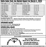 Delta Sales Yard, Inc Market Report for March 5, 2020Bigger sale this week. Feeder calves $2 lower. Weigh Cows / Bulls steady to $2 higher.TOP PAIRS: $1500.-1750. TOP BRED COWS: $1400.-1600.400-500# Steers1.65-1.90400-500# Heifers1.40-1.60500-600# Steers1.45-1.65500-600# Heifers1.37-1.53600-700# Steers1.37-1.55600-700# Heifers1.28-1.38700-800# Steers1.25-1.40700-800# Heifers1.18-1.24800-900# Steers1.25-1.33800-900# Heifers1.18-1.24Top BullsYoung Cows.77-.87Medium Bulls.70-.76.65-1.05Top Cows.60-.67Medium Cows.52-.59Low-Yield Cows.50 downThis Week: 12 mixed feeders, 18 grass calves, 10 butcher cows, 5 bred cows. Along withour usual dock run of 300.SATURDAY MARCH 14TH, - Western Colorado Angus Assoc Bull Sale. 104 RegisteredAngus Bulls, Many from Top-Producing Al Sires. One of the larges PAP-Tested RegisteredAngus Bull Sales in Colorado.UPCOMING SALES:Next Special Horse Sale - Saturday April 4thNext special sheep & goat sale March 26SPRING BULL SALESThursday March 19- Riley Taylor Charolais Bulls (15 hd)Thursday March 26 - Bob Black Ranch Charolais Bulls (14 hd.)& Rocking R Red Angus bulls (25 hd.)Thursday April 2- Where Two Trails Meet Bull Sale - Limousine and Lim-Flex BullsThursday April 9- Hidden Valley Ranch Angus BullsThursday April 16th - All breeds bull sale. REMEMBER in order for your bull to sell in this sale theyneed to have this years Trick test, & Semen test.See our website at deltasalesyard.comSALESDan & Holly Varner700 W. 5th St., Delta, CO 81416INC.For more info call Dan at970-874-4612 or 874-3605Regular Sales Every Thursday, Sheep & Goats at 11 a.m. and Cattle at 1 p.m. Our Service Is To Get The Best Market For You!!!TARD270204 Delta Sales Yard, Inc Market Report for March 5, 2020 Bigger sale this week. Feeder calves $2 lower. Weigh Cows / Bulls steady to $2 higher. TOP PAIRS: $1500.-1750. TOP BRED COWS: $1400.-1600. 400-500# Steers 1.65-1.90 400-500# Heifers 1.40-1.60 500-600# Steers 1.45-1.65 500-600# Heifers 1.37-1.53 600-700# Steers 1.37-1.55 600-