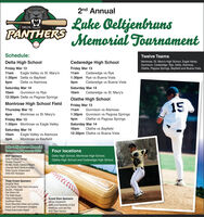 2nd AnnualLuke OeltjenbransMemorial TournamentDELTAPANTHERSSchedule:Twelve TeamsMontrose, St. Mary's High School, Eagle Valley,Gunnison, Cedaredge, Rye, Delta, Alamosa,Olathe, Pagosa Springs, Bayfield and Buena Vista.Delta High SchoolCedaredge High SchoolFriday Mar 13Friday Mar 1311amEagle Valley vs St. Mary's11amCedaredge vs Rye1:30pm Delta vs Bayfield4pm1:30pm Rye vs Buena Vista4pmDelta vs AlamosaCedaredge vs Buena VistaSaturday Mar 14Saturday Mar 14Gunnison vs Rye12:30pm Delta vs Pagosa Springs10am10amCedaredge vs St. Mary'sOlathe High SchoolMontrose High School Field15Friday Mar 13Thursday Mar 124pm11amGunnison vs AlamosaMontrose vs St. Mary's1:30pm Gunnison vs Pagosa Springs4pmSaturday Mar 14Olathe vs Pagosa SpringsFriday Mar 131:30pm Montrose vs Eagle ValleyOlathe vs Bayfield12:30pm Olathe vs Buena Vista10amSaturday Mar 1410amEagle Valley vs AlamosaMontrose vs BayfieldLuke Oeltjenbruns MemorialTournament Sponsors 2020Four locationsMVP SponsorsDelta Physical TherapyPioneer PropaneRe/Max Realty Candace MooreColorado West OphthalmologyDelta County IndependentDetta ACE HardwareDelta High School, Montrose High School,Olathe High School and Cedaredge High SchoolTriple Crown SponsorsDoughty SteelJerry Reiher State Farm InsuranceDouble J DisposalTwo Rivers VetThe Delta HouseYutes ChiropracticSunflower RoomRocky Mountain Rebar and LumberHome Loan Investment CompanyFraser Automotive RepairGrand Slam SponsorsVarner EquipmentDelta First Assembly of GodSimmons Lock and KeyB&T Auto Service 2nd Annual Luke Oeltjenbrans Memorial Tournament DELTA PANTHERS Schedule: Twelve Teams Montrose, St. Mary's High School, Eagle Valley, Gunnison, Cedaredge, Rye, Delta, Alamosa, Olathe, Pagosa Springs, Bayfield and Buena Vista. Delta High School Cedaredge High School Friday Mar 13 Friday Mar 13 11am Eagle Valley vs St. Mary's 11am Cedaredge vs Rye 1:30pm Delta vs Bayfield 4pm 1:30pm Rye vs Buena Vista 4pm Delta vs Alamosa Cedaredge vs Buena Vista Saturday Mar 14 Saturday Mar 14 Gunnison vs