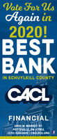 Vote For UsAgain in2020!BESTBANKIN SCHUYLKILL COUNTYCACLFINANCIAL.1800 W MARKET ST.POTTSVILLE, PA 17901(570) 628-2400 | CACLFCU.ORG t Vote For Us Again in 2020! BEST BANK IN SCHUYLKILL COUNTY CACL FINANCIAL. 1800 W MARKET ST. POTTSVILLE, PA 17901 (570) 628-2400 | CACLFCU.ORG t