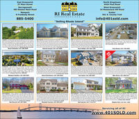 """East GreenwichNorth Kingstown6454 Post Road37 Main StreetNarragansett483 Boston Neck RoadWest Greenwich16 Nooseneck Hill RoadNewport8 Freebody StreetExeterRI Real EstateSERVICES561 S. County Trail885-5400info@401sold.com""""Selling Rhode Island""""Jamestown - Completly unobstruded and totaly deared 12 et share trontage onEast Shore R Views f Prudence sand. Patence stand, Neport, vour very on pivatbeach, mooring and possble dock. This home sts on 166 aoes f dear oted andNas been gradietered in Not ta mention a grandahered in guest touse tat sitspracicaly on the bay NO FLOOD NSURANCE REQUED The man hone has J beds,bats, an upated hen wh anles sted and grante,nom, sunon, ving room and dning room. Almost every oom hana view of e baySt back and wath the salbosts and boet cee 10sa East Shore Road. $1,2400Nicole Hofstetter   401-206-5626West Greenwich- Soedacar eonial tyGson idsipepna Der RunEspes nemvoles and tfoer weSut splanomEter- OnaQuet l deaund porh nvoed by Sennatino on jst oerpes ve teNKi Thshone has an pen foor concest wiagas fresont esand bniy room toun ndaseparte door e ne round rot pordi. Bigt and pen, tanles ted oolances ndntoning buters pirtry leding ta the degant loma diing om. Kte sute has a soe b pus Ses addtonal bedonsawaoodiom for et heng soace. Lawer tan Qual Riopeisa negtbortaod we onunderground utites and ver theh ngn e Kayla Rieci W S.0Warwick- Rareopportunity!.44acrelotiocated ondesirableEast Greewich Bay in Potowomut. Two houses are in need ofcomplete rehab. Make your offer quickly, this one won't last.154 Charlotte Drive. $699,000SumingGustomiaed deige aln whaw20, Bedenty dning onefarkedadnets   arge deses. Lurge bonusrg tal doeand qut t c dpnet 7 uck olow rive. 100Deborah Sawyer   401-447-9200e your qart famesprhDana Phillips   401-323-1220Greg Dantas   401-742-3329NEWIST!Jamestown - Rare opportunity in Beavertall The beach cottageyou have dreamed of on a fabulous double sized lot in primebeavertal location Lot size is perfect for any remodellexparsio"""