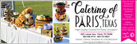 Catering ofOver 30 YearsCombinedExperienceFull-ServiceCateringWeddingsPÄRISTKASPartiesSpecial EventsBakery& Gift ShopDaily Lunch &Dinner SpecialsHigh Quality Cuisine For Every Occasion!1821 Lamar Ave · Paris, TX 75460903.495.4774 · 903.737.8021Owners: Tammy Templeton & Linda McCarrellFollow UsFacebook!Cateringofparistx@yahoo.com Catering of Over 30 Years Combined Experience Full-Service Catering Weddings PÄRISTKAS Parties Special Events Bakery & Gift Shop Daily Lunch & Dinner Specials High Quality Cuisine For Every Occasion! 1821 Lamar Ave · Paris, TX 75460 903.495.4774 · 903.737.8021 Owners: Tammy Templeton & Linda McCarrell Follow Us Facebook! Cateringofparistx@yahoo.com
