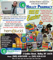 """HOMETOWN VALUESLOCALLY OWNEDRHOLLEY PHARMACYabuthee ath Can Pelatsand sherkailabe kalth SricesGREAT GIFT Greeting Cards, Toys,Educational Kid'sIDEAS FOR Products, Jewelry andEastermuch more!""""We appreciate your business. You can trustwe will provide quality caring service andaffordable pharmacy prescriptions.""""HOME HEALTH CARE:Durable Medical Equipment - Diabetic Care  Arthritis CareOver the Counter MEDICATIONSNEW SELECTIONOF TY BEANIEBABIES.. Come seethe UNICORNS!CandyCrystalsGed ctralsclenceYOu canGrowinu uthemolucid.ceare st trynyere r ce tandATCHEMSWHOLE-PLANT CBDATCHEMSCOMPETITIVE PRICINGFORPETSTOO!REPUTABLE SOURCENO PSYCHOACTIVE EFFECTSFLAMINGO EGGSGENETICALLY SUPERIORhempluciaSlentieFUNIGECENTRALEXPLORE!SECTNDOrhemplice hepuric cLAVAWHOLE-PLANT CBDEXPLORE!In a BottleCov Tour Ove Lave LThrough Cheeial RectioU.S.A. PRODUCThemcidHOLLEYBINOSIRRHealth Mart,PHARMACYCaring for you and about you3 Geddes Street, Holley, NY 1447OPhone: (585) 638-5499 Fax: (585) 638-6149Mon.-Fri. 9am-7pm; Sat. 9am-5pm; Sun. 9am-2pm HOMETOWN VALUES LOCALLY OWNED RHOLLEY PHARMACY abut hee ath Can Pelats and sher kailabe kalth Srices GREAT GIFT Greeting Cards, Toys, Educational Kid's IDEAS FOR Products, Jewelry and Easter much more! """"We appreciate your business. You can trust we will provide quality caring service and affordable pharmacy prescriptions."""" HOME HEALTH CARE: Durable Medical Equipment -  Diabetic Care  Arthritis Care Over the Counter MEDICATIONS NEW SELECTION OF TY BEANIE BABIES.. Come see the UNICORNS! Candy Crystals Ged ctral sclence YOu can Growinu ut hemolucid. ceare st tryny ere r ce tand ATCHEMS WHOLE-PLANT CBD ATCHEMS COMPETITIVE PRICING FOR PETS TOO! REPUTABLE SOURCE NO PSYCHOACTIVE EFFECTS FLAMINGO EGGS GENETICALLY SUPERIOR hemplucia Slentie FUNI GECENTRAL EXPLORE! SECTNDOr hemplice hepuric c LAVA WHOLE-PLANT CBD EXPLORE! In a Bottle Cov Tour Ove Lave L Through Cheeial Rectio U.S.A. PRODUCT hem cid HOLLEY BINOSIR RHealth Mart, PHARMACY Caring for you and about you 3 Gedd"""