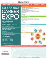 Observer-ReporterMEET EMPLOYERS - GATHER INFORMATION  APPLY TO JOBSTITLE SPONSORS Naming rights of the expo (brought to you by) Logo inclusion in all promotional ads (minimum of 15 full page ads) Full page ad in expo guide Sponsorship of Career Expo Story (Banner ad) Job Board Bundle (One month for your career expo ad at no charge) A premium booth Lunch2020 SPRINGCAREEREXPO Price: S1,500FULL PAGE SPONSORS Full page ad in expo guide Logo inclusion in all promotional ads (minimum of 15 full page ads) Job Board Bundle (One month for your career expo ad at no charge) A booth at the expo Lunch Price: $1,250CONNECTIONS TO YOUR FUTUREBring plenty of resumesand dress to impress!Part-Time, Full-Time, Entry-LevelHALF PAGE SPONSORS Half page ad in expo guide Name of business in all promotional ads (minimum of 15 full page ads) Job Board Bundle (Two weeks for your career expo ad at no charge) A booth at the expo Lunch Price: $750and Professional PositionsWEDNESDAY, APRIL 22, 202011:30 AM - 4:00 PMDOUBLETREERACETRACK ROAD, WASHINGTON, PAEXHIBITOR A booth at the expo isting in expo guide Lunch Price: $550FOR MORE INFORMATION CONTACT:NPLOTES724.222.2200Darlene ToheyExt. 2487Eleanor SmithExt. 2485Frankie AldersonExt. 2484Allison DuratzExt. 2488CAREEN-ANDIOAEorclass@observer-reporter.comOBSERVER-REPORTER 2020 CAREER EXPO PARTICIPANT / SPONSOR REGISTRATION FORMTo reerve yo ahe Oleeeporter Carer Espo siema complete ta termant le mal malte e reeporter along wih chek, payaie The O Repor CedCar are eptedRegistration Deadline is April 10, 2020Name of CompanySPONSORED BY:Mailing AddressCity.StateZIPPhoneFaxObscrver ReporterE-mailName & Titles of Attending RepresentativesPlease choose one option: O TieleO Half Page SponsorMail registration form to:Observer-Reporter, 122 South Main Street, Washington, PA 15301  fax: 724-223-3982O Full Page SponsorOExhibitor Observer-Reporter MEET EMPLOYERS - GATHER INFORMATION  APPLY TO JOBS TITLE SPONSORS  Naming rights of the expo (brought to you by)  Logo