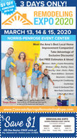 $1 OFF2ADMISSIONWITH AD3 DAYS ONLY!REMODELINGEXPO 2020MARCH 13, 14 & 15, 2020NORRIS-PENROSE EVENT CENTERMeet the Area's Best Local HomeImprovement Companies!Take Advantage ofExclusive Discounts!Get FREE Estimates & Ideas!Kitchens  Baths  Custom RemodelingWindows · Siding - Roofing - DoorsSecurity · Solar  Decks  PatiosRoom Additions . SunroomsBasements · CabinetsHeating & Air ConditioningCountertopsCarpet & Hardwood FloorNew Home Construction& Much, Much More!Directions: From 1-25, Take Hwy 24. West to 8n St;NORRIS PENROSE South on 8th St to Rio Grande/Lower Gold Camp Rd.Go West on W. Rio Grande/Lower Gold Camp Rd........www.ColoradoSpringsRemodelingExpo.comSave $1REMODELING EXPONORRIS-PENROSE EVENT CENTERCOLORADO SPRINGSFRIDAYSATURDAYSUNDAYMAR 13MAR 14MAR 15OR One Senior FREE with ad2PM-7PM10AM-7PM10AM-5PMReg. Admission $3 - Children under 18 FREE $1 OFF 2ADMISSION WITH AD 3 DAYS ONLY! REMODELING EXPO 2020 MARCH 13, 14 & 15, 2020 NORRIS-PENROSE EVENT CENTER Meet the Area's Best Local Home Improvement Companies! Take Advantage of Exclusive Discounts! Get FREE Estimates & Ideas! Kitchens  Baths  Custom Remodeling Windows · Siding - Roofing - Doors Security · Solar  Decks  Patios Room Additions . Sunrooms Basements · Cabinets Heating & Air Conditioning Countertops Carpet & Hardwood Floor New Home Construction & Much, Much More! Directions: From 1-25, Take Hwy 24. West to 8n St; NORRIS PENROSE South on 8th St to Rio Grande/Lower Gold Camp Rd. Go West on W. Rio Grande/Lower Gold Camp Rd. ....... www.ColoradoSpringsRemodelingExpo.com Save $1 REMODELING EXPO NORRIS-PENROSE EVENT CENTER COLORADO SPRINGS FRIDAY SATURDAY SUNDAY MAR 13 MAR 14 MAR 15 OR One Senior FREE with ad 2PM-7PM 10AM-7PM 10AM-5PM Reg. Admission $3 - Children under 18 FREE