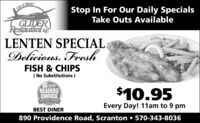 Get it fresh!Stop In For Our Daily SpecialsTake Outs AvailableGLIDERRestautant neLENTEN SPECIALDelicious, FreshFISH & CHIPS( No Substitutions )2019READERSCHOICEThE Cimes Trine$10.95Every Day! 11am to 9 pmBEST DINER890 Providence Road, Scranton  570-343-8036 Get it fresh! Stop In For Our Daily Specials Take Outs Available GLIDER Restautant ne LENTEN SPECIAL Delicious, Fresh FISH & CHIPS ( No Substitutions ) 2019 READERS CHOICE ThE Cimes Trine $10.95 Every Day! 11am to 9 pm BEST DINER 890 Providence Road, Scranton  570-343-8036