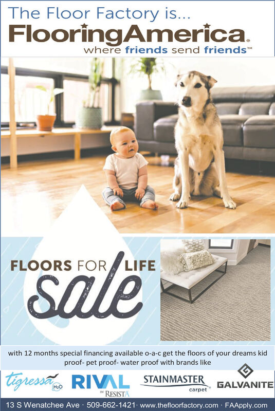 "The Floor Factory is...FlooringAmerica.where friends send friends""saleFLOORS FOR LIFES.with 12 months special financing available o-a-c get the floors of your dreams kidproof- pet proof- water proof with brands likeTigressa RIVAL STAINMASTER"" RESISTAGALVANITEH:Ocarpet13 S Wenatchee Ave · 509-662-1421 www.thefloorfactory.com FAApply.com The Floor Factory is... FlooringAmerica. where friends send friends"" sale FLOORS FOR LIFE S. with 12 months special financing available o-a-c get the floors of your dreams kid proof- pet proof- water proof with brands like Tigressa RIVAL STAINMASTER "" RESISTA GALVANITE H:O carpet 13 S Wenatchee Ave · 509-662-1421 www.thefloorfactory.com FAApply.com"