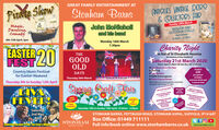 GREAT FAMILY ENTERTAINMENT ATPirate ShowANTIQUES VINTAGE REIRO& OLLECIORS FAIRStonham BarnsMagic,Danting,ComedyJohn McNicholland his bandSunday 29th MarchINDOOR ANDOUTDOOR STALLSFREE PARKING830am - 3.30pm6th-12th April, 3pmMonday 16th March7.30pmDsialCharity NightEASTERFEST40THEIn Aid of St Elizabeth Hospice(In memory of Zoe Goddard)GOODOLDSaturday 21st March 2020Doors open 6.30pm till late (bar till 11.30pm)Live Music from 'It's FeteDancing Live Auction Raffle Extravaganza Three Course DinnerOvernight accommodation available.To book call 01449711 901Country Music Festivalfor Easter WeekendDAYSTICKETS£30Thursday 26th Marchper personThursday 9th to Sunday 12th AprilIncludeswelcome drink and3 course mealSptipa,Chafte FaitLIVTEVIRBOX AT IPSWICHFOOTBALL GROUNDHELICOPTER RIDEAUCTIONLOTSINCLUDEHOT AR BALLOONFLIGHT FOR3SIGNED MERCHANDISEFROM IPSWICCHFOOTBALL CLUBFREEENTRYVARIETYOFSTALLSSaturday 18th & Sunday 19th April, 10.00am- 4.00pmWEEKEND HOLIDAYSTAY ATSTONHAM BARNSWITH GOLFVOUCHERFREEEisobethHonpicePICTURESIGNED PRINTSPARKINGSaturday2nd May,STONHAM BARNS, PETTAUGH ROAD, STONHAM ASPAL, SUFFOLK, IP14 6AT8pmBox Office: 01449 711111Full info/book online: www.stonhambarns.co.uk StonhamBarnsLVCelebrating the music of Cher, Tina Turner a Whitney HoustonSTONHAMBARNS PARK GREAT FAMILY ENTERTAINMENT AT Pirate Show ANTIQUES VINTAGE REIRO & OLLECIORS FAIR Stonham Barns Magic, Danting, Comedy John McNicholl and his band Sunday 29th March INDOOR AND OUTDOOR STALLS FREE PARKING 830am - 3.30pm 6th-12th April, 3pm Monday 16th March 7.30pm Dsial Charity Night EASTER FEST40 THE In Aid of St Elizabeth Hospice (In memory of Zoe Goddard) GOOD OLD Saturday 21st March 2020 Doors open 6.30pm till late (bar till 11.30pm) Live Music from 'It's Fete Dancing  Live Auction  Raffle Extravaganza  Three Course Dinner Overnight accommodation available. To book call 01449711 901 Country Music Festival for Easter Weekend DAYS TICKETS £30 Thursday 26th March per person Thursday 9th to Sunday 12th April Includes welcome drink and 3 course meal Sptipa, Chafte Fait LIV TEVIR BOX AT IPSWICH FOOTBALL GROUND HELICOPTER RIDE AUCTION LOTS INCLUDE HOT AR BALLOON FLIGHT FOR3 SIGNED MERCHANDISE FROM IPSWICCH FOOTBALL CLUB FREE ENTRY VARIETY OF STALLS Saturday 18th & Sunday 19th April, 10.00am- 4.00pm WEEKEND HOLIDAY STAY AT STONHAM BARNS WITH GOLF VOUCHER FREE Eisobeth Honpice PICTURE SIGNED PRINTS PARKING Saturday 2nd May, STONHAM BARNS, PETTAUGH ROAD, STONHAM ASPAL, SUFFOLK, IP14 6AT 8pm Box Office: 01449 711111 Full info/book online: www.stonhambarns.co.uk StonhamBarnsLV Celebrating the music of Cher, Tina Turner a Whitney Houston STONHAM BARNS PARK