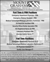 MOUNTGRAHAMREGIONAL MEDICAL CENTERis seeking qualified individuals for the following job opportunities:Part Time & PRN PositionsEmergency Department Physician - PRNEmergency Medical Resident - PRNMedical Technologist/Medical Laboratory Technician - PRNER Physician Assistant-PRNSecurity Officer/Safety Specialist-PRNICU Registered Nurse (2)-PRNLaboratory Assistant-PRNInfection Control Nurse-PTFull Time PositionsEmergency Department Physician (2)-FTMedical Technologist/Medical Laboratory Technician-FTER Physician Assistant-FTQuality Case Manager-FTWe offer competitive benefits for both full time and part time positions. For a full listingof our job openings and specific details, visit or website at: www.mtgraham.org or callChrista Ruiz, HR Generalist at (928) 348-4201.We accept applications and resumes online.Computers are available in the Human Resource office, Monday - Friday 9am to 4pm at1600 S. 20th Avenue Safford. MGRMC is an Equal Opportunity Employer. MOUNT GRAHAM REGIONAL MEDICAL CENTER is seeking qualified individuals for the following job opportunities: Part Time & PRN Positions Emergency Department Physician - PRN Emergency Medical Resident - PRN Medical Technologist/Medical Laboratory Technician - PRN ER Physician Assistant-PRN Security Officer/Safety Specialist-PRN ICU Registered Nurse (2)-PRN Laboratory Assistant-PRN Infection Control Nurse-PT Full Time Positions Emergency Department Physician (2)-FT Medical Technologist/Medical Laboratory Technician-FT ER Physician Assistant-FT Quality Case Manager-FT We offer competitive benefits for both full time and part time positions. For a full listing of our job openings and specific details, visit or website at: www.mtgraham.org or call Christa Ruiz, HR Generalist at (928) 348-4201.We accept applications and resumes online. Computers are available in the Human Resource office, Monday - Friday 9am to 4pm at 1600 S. 20th Avenue Safford. MGRMC is an Equal Opportunity Employer.