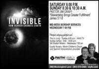"SATURDAY 6:00 P.M.SUNDAY 8:30 & 10:30 A.M.PASTOR JIM GRAFF""Standing Against What Overcomes God's Will""James 4:1-12INVISIBLEMID-WEEK WORSHIP SERVICESWEDNESDAY 7:00 P.M.HOW HEAVEN CHANGES EARTHPeople helping people win!This Is Living!-Sunday 8:00 a.m. - KAVU TVSunday School - 9:00 - 10:00 a.m.SM Student Ministry - Wednesday 7:00 pmQuality Nursery, Vibrant Children's Churchand Spanish Interpretation providedFAITHFAMILYCHURCHPastor Jim & Tamara Graft2002 Mockingbird Lane (361) 573-2484 myffc.com SATURDAY 6:00 P.M. SUNDAY 8:30 & 10:30 A.M. PASTOR JIM GRAFF ""Standing Against What Overcomes God's Will"" James 4:1-12 INVISIBLE MID-WEEK WORSHIP SERVICES WEDNESDAY 7:00 P.M. HOW HEAVEN CHANGES EARTH People helping people win! This Is Living!-Sunday 8:00 a.m. - KAVU TV Sunday School - 9:00 - 10:00 a.m. SM Student Ministry - Wednesday 7:00 pm Quality Nursery, Vibrant Children's Church and Spanish Interpretation provided FAITHFAMILY CHURCH Pastor Jim & Tamara Graft 2002 Mockingbird Lane (361) 573-2484 myffc.com"
