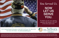 "You Served Us.NOWLET USSERVEYOU.To thank you for your service,veterans will receive 10% off*of the first year's rent.WAR 1950 - 19552121 Central Street  Stoughton, MA 02072  Phone 781-805-4704For more information, visit arborsassistedliving.comTHE ArborsAssisted Living Residential Communitiesat StoughtonThis Veteran discount program is effective March 1, 2020, may not be used in conjunction with any other programs offered by The Arbors Assisted Living Communities (The Arbors) or The Ivy Assisted Living Communities (""The lvy).and supersedes all prior programs and offers. Participation in this Veteran discount program is limited to Veterans who are new residents of The Arbors and The Ivy communities and does not apply. to respite or short-stays; or to residenttransfers within an Arbors or lvy community (except for a transfer from a respite apartment to another apartment); or to surviving spouses of veterans; or to any former or current Arbors or hvy residents. Offer is valid only when a Veteranpresents their Miitary Discharge/DD214 form. The Veteran must meet current eligibility criteria for residency. The discount will only be given on a per apartment (not per person occupying the apartment) basis. The Arbors or The hvy reservesthe right to terminate, suspend or modity this Veteran discount program at any time without notice. This offer is valid for market-rate apartments only.NWCNI3 You Served Us. NOW LET US SERVE YOU. To thank you for your service, veterans will receive 10% off* of the first year's rent. WAR 1950 - 1955 2121 Central Street  Stoughton, MA 02072  Phone 781-805-4704 For more information, visit arborsassistedliving.com THE Arbors Assisted Living Residential Communities at Stoughton This Veteran discount program is effective March 1, 2020, may not be used in conjunction with any other programs offered by The Arbors Assisted Living Communities (The Arbors) or The Ivy Assisted Living Communities (""The lvy). and supersedes all prior programs and offers. Participation in this Veteran discount program is limited to Veterans who are new residents of The Arbors and The Ivy communities and does not apply. to respite or short-stays; or to resident transfers within an Arbors or lvy community (except for a transfer from a respite apartment to another apartment); or to surviving spouses of veterans; or to any former or current Arbors or hvy residents. Offer is valid only when a Veteran presents their Miitary Discharge/DD214 form. The Veteran must meet current eligibility criteria for residency. The discount will only be given on a per apartment (not per person occupying the apartment) basis. The Arbors or The hvy reserves the right to terminate, suspend or modity this Veteran discount program at any time without notice. This offer is valid for market-rate apartments only. NWCNI3"