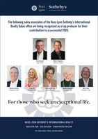 Russ Sotheby'sLyon I INTERNATIONAL REALTYThe following sales associates of the Russ Lyon Sotheby's InternationalRealty Tubac office are being recognized as a top producer for theircontribution to a successful 2019.Gary BrasherLyon's PrideRobert PrigmoreChairman's BoardMichael ConnellyPresident's ClubTrudy HillPresident's ClubCatherine MarreroPresident's ClubMelinda MaddockPresident's ClubMark WileyPresident's ClubFor those who seek an exceptional life.RUSS LYON SOTHEBY'S INTERNATIONAL REALTYRUSSLYON.COM 520.398.2506 · TUBAC@RUSSLYON.COM#2 TUBAC ROAD. TUBAC, ARIZONA 85646 Russ Sotheby's Lyon I INTERNATIONAL REALTY The following sales associates of the Russ Lyon Sotheby's International Realty Tubac office are being recognized as a top producer for their contribution to a successful 2019. Gary Brasher Lyon's Pride Robert Prigmore Chairman's Board Michael Connelly President's Club Trudy Hill President's Club Catherine Marrero President's Club Melinda Maddock President's Club Mark Wiley President's Club For those who seek an exceptional life. RUSS LYON SOTHEBY'S INTERNATIONAL REALTY RUSSLYON.COM 520.398.2506 · TUBAC@RUSSLYON.COM #2 TUBAC ROAD. TUBAC, ARIZONA 85646