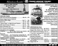 """Adventure Awaits! TRANS-BRIDGE TOURSTours and Vacation TravelCIRCLE LINE CRUISE& LITTLE ITALYMay 1 (Fri)$113 Adult 