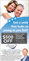 "Get a smilethat looks asyoung as you feel!See if you are a candidate today!$500 implantsOFFDentalRegular Price: ""S2195Offer Expires 03/15/2020*Can not be combined with otherpromotions or insurance discounts.THEFÖLECKCENTERCosmetic  Implant  General Dentistry1436 S. Independence Blvd., Suite 100, VA Beach  757.965.7696201 College Place, Suite 111, Norfolk  757.623.02832400 Cunningham Dr., Suite 100, Hampton  757.838.84113834 Kecoughtan Road, Hampton  757.727.7726Dr. Adam Foleck is a nationally and internationally recognized dental implantologistand lectures nationally and internationally on Dental Implant Surgery and Integration.He is an honored fellow and Vice President of the American Academy of ImplantDentistry and is a Diplomate on the American Board of Oral Implantology. Fromroutine cleanings and fillings, to periodical procedures and implant placement,Dr. Foleck is here to help with all of your dental needs. Get a smile that looks as young as you feel! See if you are a candidate today! $500 implants OFF Dental Regular Price: ""S2195 Offer Expires 03/15/2020 *Can not be combined with other promotions or insurance discounts. THE FÖLECK CENTER Cosmetic  Implant  General Dentistry 1436 S. Independence Blvd., Suite 100, VA Beach  757.965.7696 201 College Place, Suite 111, Norfolk  757.623.0283 2400 Cunningham Dr., Suite 100, Hampton  757.838.8411 3834 Kecoughtan Road, Hampton  757.727.7726 Dr. Adam Foleck is a nationally and internationally recognized dental implantologist and lectures nationally and internationally on Dental Implant Surgery and Integration. He is an honored fellow and Vice President of the American Academy of Implant Dentistry and is a Diplomate on the American Board of Oral Implantology. From routine cleanings and fillings, to periodical procedures and implant placement, Dr. Foleck is here to help with all of your dental needs."