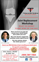 TRANSF ORMREHABILITATIONJoint ReplacementWorkshopWHAT TO EXPECTEVERY STEP OF THE WAYHave you been in pain formany years which limitshow active you are?Has your doctor suggestedgetting a joint replacement?Are you curious aboutthe whole process?DR. KYLE LANCEDR. THOMAS FRAINDCome to our FREE Workshop to learn everything you should expect:Pre-operative preparationPost-operative course of treatmentRehabilitation and return to activitiesRSVPSpots FillQuickly!MAY 24TH, 20206:00 PMAT BOTH LOCATIONS3722 LEHIGH ST. STE 406(484) 387-1065TransformRehabilitation.comWHITEHALL PA, 180526299 RT 309NEW TRIPOLI, PA 18066 TRANSF ORM REHABILITATION Joint Replacement Workshop WHAT TO EXPECT EVERY STEP OF THE WAY Have you been in pain for many years which limits how active you are? Has your doctor suggested getting a joint replacement? Are you curious about the whole process? DR. KYLE LANCE DR. THOMAS FRAIND Come to our FREE Workshop to learn everything you should expect: Pre-operative preparation Post-operative course of treatment Rehabilitation and return to activities RSVP Spots Fill Quickly! MAY 24TH, 2020 6:00 PM AT BOTH LOCATIONS 3722 LEHIGH ST. STE 406 (484) 387-1065 TransformRehabilitation.com WHITEHALL PA, 18052 6299 RT 309 NEW TRIPOLI, PA 18066