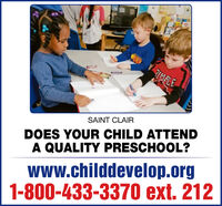 Go.RIMBLESAINT CLAIRDOES YOUR CHILD ATTENDA QUALITY PRESCHOOL?wWw.childdevelop.org1-800-433-3370 ext. 212 Go. RIMBLE SAINT CLAIR DOES YOUR CHILD ATTEND A QUALITY PRESCHOOL? wWw.childdevelop.org 1-800-433-3370 ext. 212
