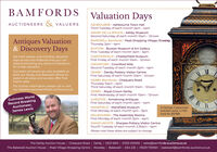 BAMFORDSValuation DaysAUCTIONEERS & VALUERSASHBOURNE - Ashbourne Town HallThird Tuesday of each month 2pm - 4pmASHBY DE LA ZOUCH - Ashby MuseumSecond Saturday of each month 10am - 12noonBAKEWELL Bamfords - Peak Shopping Village, RowsleyThursday 2pm - 4pmAntiques Valuation& Discovery DaysBUXTON - Buxton Museum & Art GalleryFirst Tuesday of each month 2pm - 4pmWe hold weekly and monthly valuationdays across the Midlands that you canattend and bring any items of interest tofor a free valuation.CHESTERFIELD - Chesterfield MuseumFirst Friday of each month 10am - 12noonLONDONCROMFORD - Cromford MillsSecond Tuesday of each month 2pm - 4pmDENBY - Denby Pottery Visitor CentreFirst Saturday of each month 10am - 12noonOur team of valuers are also available atboth our Derby and Bakewell offices toassist in all areas and we also offer freeDERBY Bamfords - Chequers RoadThursday 10am - 4pmThird Saturday of each month 10am - 12noonhome visits.For further information please call or visitour website www.bamfords-auctions.co.ukDERBY - Royal Crown DerbyFirst Wednesday of each month 10am - 12noonILKESTON - Armstrong AntiquesGuinness WorldRecord BreakingAuctioneer,James LewisFirst Saturday of each month 2pm - 4pmMANSFIELD - Mansfield MuseumA George Il japannedbracket clock, c.1750Sold for £3,700First Monday of each month Ipm - 3pmMELBOURNE - The Assembly RoomsFirst Monday of each month 2pm - 4pmSWADLINCOTE - Sharpes Pottery Visitor CentreFourth Tuesday of each month 2.30pm - 4pmPlease note these dates are subject to changeThe Derby Auction House | Chequers Road | Derby | DE21 6EN | 01332 210000 | sales@bamfords-auctions.co.ukThe Bakewell Auction House | Peak Village Shopping Centre | Rowsley | Bakewell | DE4 2JE | 01629 730920 | bakewell@bamfords-auctions.co.uk BAMFORDS Valuation Days AUCTIONEERS & VALUERS ASHBOURNE - Ashbourne Town Hall Third Tuesday of each month 2pm - 4pm ASHBY DE LA ZOUCH - Ashby Museum Second Saturday of each month 10am - 12noon BAKEWELL Bamfords - Peak Shopping Village, Rowsley Thursday 2pm - 4pm Antiques Valuation & Discovery Days BUXTON - Buxton Museum & Art Gallery First Tuesday of each month 2pm - 4pm We hold weekly and monthly valuation days across the Midlands that you can attend and bring any items of interest to for a free valuation. CHESTERFIELD - Chesterfield Museum First Friday of each month 10am - 12noon LONDON CROMFORD - Cromford Mills Second Tuesday of each month 2pm - 4pm DENBY - Denby Pottery Visitor Centre First Saturday of each month 10am - 12noon Our team of valuers are also available at both our Derby and Bakewell offices to assist in all areas and we also offer free DERBY Bamfords - Chequers Road Thursday 10am - 4pm Third Saturday of each month 10am - 12noon home visits. For further information please call or visit our website www.bamfords-auctions.co.uk DERBY - Royal Crown Derby First Wednesday of each month 10am - 12noon ILKESTON - Armstrong Antiques Guinness World Record Breaking Auctioneer, James Lewis First Saturday of each month 2pm - 4pm MANSFIELD - Mansfield Museum A George Il japanned bracket clock, c.1750 Sold for £3,700 First Monday of each month Ipm - 3pm MELBOURNE - The Assembly Rooms First Monday of each month 2pm - 4pm SWADLINCOTE - Sharpes Pottery Visitor Centre Fourth Tuesday of each month 2.30pm - 4pm Please note these dates are subject to change The Derby Auction House | Chequers Road | Derby | DE21 6EN | 01332 210000 | sales@bamfords-auctions.co.uk The Bakewell Auction House | Peak Village Shopping Centre | Rowsley | Bakewell | DE4 2JE | 01629 730920 | bakewell@bamfords-auctions.co.uk