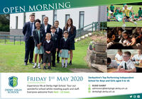 OPEN MORNINGSAINTVRYRCKFRIDAY 1ST MAY 2020 Derbyshire's Top Performing IndependentSchool for Boys and Girls aged 3 to 18.YX)Experience life at Derby High School. Tour ourwonderful school whilst meeting pupils and staff.Everyone welcome from 9am - 12 noon.01332 514267DERBY HIGHSCHOOLadmissions@derbyhigh.derby.sch.ukderbyhigh.derby.sch.uk OPEN MORNING SAINT VRYRCK FRIDAY 1ST MAY 2020 Derbyshire's Top Performing Independent School for Boys and Girls aged 3 to 18. YX) Experience life at Derby High School. Tour our wonderful school whilst meeting pupils and staff. Everyone welcome from 9am - 12 noon. 01332 514267 DERBY HIGH SCHOOL admissions@derbyhigh.derby.sch.uk derbyhigh.derby.sch.uk