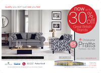 quality you don't just see you feelnow up to30%rhoff,Great BritishBrandsATINGChristopher175 PrattsYearsAVERSASFurniture  Est 1845The largest collection of furniture brands in the UK. All at the best pricesDURESTAvisit us onine at: www.cpratts.co.uk9 Regent Street,Leeds LS2 7ONHYPNOS TEMPUR G ercol Parker KnollINGLAND SNCeTel: 0113 234 8000Open: Monday to Friday 10 -6 (Thursday 10 - 8). Sanurday 9- 6, Sunday 11-5free delivery  interest free credit removal of your old fumiture, if requiredSCECCC quality you don't just see you feel now up to 30%rh off, Great British Brands ATING Christopher 175 Pratts Years AVERSAS Furniture  Est 1845 The largest collection of furniture brands in the UK. All at the best prices DURESTA visit us onine at: www.cpratts.co.uk 9 Regent Street, Leeds LS2 7ON HYPNOS TEMPUR G ercol Parker Knoll INGLAND SNCe Tel: 0113 234 8000 Open: Monday to Friday 10 -6 (Thursday 10 - 8). Sanurday 9- 6, Sunday 11-5 free delivery  interest free credit removal of your old fumiture, if required SCEC CC