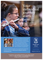 "Yourindividualjourneystartshere.""For us, achievement means somuch more when it is coupledwith true enjoyment.""Whether your child joins us at the very startof their learning journey, as a Prep Schoolpupil or at Senior School or Sixth Form level,we believe that having their personalDONinterests and abilities carefully nurturedBridgewaterhere at Bridgewater School will provide theSchoolperfect launchpad for a successful future.WHENOVOALS COUNTWe provide independent education for boys and girls aged 3-18 years in anDrywood Hall. Worsley,inspirational setting that is totally focused on helping your child to beManchester M28 2wQeverything they can be.bridgewater-school.co.ukTo experience a more individual approach to your child's education,contact us on 0161 794 1463 or email admin@bwslive.co.uk toarrange your Personal Taster Session. Your individual journey starts here. ""For us, achievement means so much more when it is coupled with true enjoyment."" Whether your child joins us at the very start of their learning journey, as a Prep School pupil or at Senior School or Sixth Form level, we believe that having their personal DON interests and abilities carefully nurtured Bridgewater here at Bridgewater School will provide the School perfect launchpad for a successful future. WHENOVOALS COUNT We provide independent education for boys and girls aged 3-18 years in an Drywood Hall. Worsley, inspirational setting that is totally focused on helping your child to be Manchester M28 2wQ everything they can be. bridgewater-school.co.uk To experience a more individual approach to your child's education, contact us on 0161 794 1463 or email admin@bwslive.co.uk to arrange your Personal Taster Session."