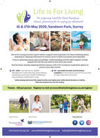 Life is For LivingAn inspiring event for those thinkingabout, planning for or enjoying retirement16 & 17th May 2020, Sandown Park, SurreyLife Is For Living presents expert advice, support and inspiration for those thinking about,planning or enjoying retirement to ensure yours is both successful and enjoyable.If you're planning ahead, gain knowledge, understanding and the right support to helpprepare for the life you want to live when you retire.And for those already enjoying full time leisure, Life Is For Living has inspiration galore toensure every day counts.50+ specialist brands and boutiquesuppliers of the products and services you need40+ talks covering Finance, WealthManagement, Estate Planning, Equity Release,Destinations and Travel, Health & Wellbeing,Style & Beauty, Independent Livingto make retirement successful.Come along and meet the experts who can make your retirement dreams a reality.Plan for tomorrow, live for today.Tickets - £10 per person Register to visit at www.lifeisforlivingshow.co.uk/registerCharity PartnerTravel PartnerFOLLOW USsilvertraveladvisorPrincess AliceHospiceWolo of M leLife Events Group Ltd www.lifeisforlivingshow.co.uk hello@lifeisforlivingshow.co.uk Life is For Living An inspiring event for those thinking about, planning for or enjoying retirement 16 & 17th May 2020, Sandown Park, Surrey Life Is For Living presents expert advice, support and inspiration for those thinking about, planning or enjoying retirement to ensure yours is both successful and enjoyable. If you're planning ahead, gain knowledge, understanding and the right support to help prepare for the life you want to live when you retire. And for those already enjoying full time leisure, Life Is For Living has inspiration galore to ensure every day counts. 50+ specialist brands and boutique suppliers of the products and services you need 40+ talks covering Finance, Wealth Management, Estate Planning, Equity Release, Destinations and Travel, Health & Wellbeing, Style & Bea