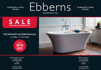 "EbbernsCELEBRATING 37 YEARSCELEBRATING 37 YEARS1983-20201983-2020BATHROOMS & TILESSALETERMS AND CONDITIONS APPLYTHE BIGGEST BATHROOM SALE4TH APRIL - 11T"" JULY 2020UP TO30%OFFEbberns Bathroom Centrela Frogmore RoadHemel HempsteadEbberns Tile CentreUnit 9 Hall RoadHemel HempsteadHertsHP3 9RWHertsHP2 7BHTel 01442 212838Tel 01442 253878www.ebberns.co.ukwww.ebberns.co.uk Ebberns CELEBRATING 37 YEARS CELEBRATING 37 YEARS 1983-2020 1983-2020 BATHROOMS & TILES SALE TERMS AND CONDITIONS APPLY THE BIGGEST BATHROOM SALE 4TH APRIL - 11T"" JULY 2020 UP TO 30% OFF Ebberns Bathroom Centre la Frogmore Road Hemel Hempstead Ebberns Tile Centre Unit 9 Hall Road Hemel Hempstead Herts HP3 9RW Herts HP2 7BH Tel 01442 212838 Tel 01442 253878 www.ebberns.co.uk www.ebberns.co.uk"