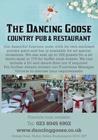 THE DANCING GOOSECOUNTRY PUB & RESTAURANTOur beautiful function room with its own enclosedprivate patio and bar is available for all specialoccasions. We can seat up to 100 guests for a sitdown meal or 170 for buffet style events. We caninclude a DJ and dance floor too if required.For further details contact our Functions ManagerVictoria to discuss your requirements.Function room availableTel: 023 8045 6902www.dancinggoose.co.ukGrange Road, Netley Abbey Southampton S031 5FF THE DANCING GOOSE COUNTRY PUB & RESTAURANT Our beautiful function room with its own enclosed private patio and bar is available for all special occasions. We can seat up to 100 guests for a sit down meal or 170 for buffet style events. We can include a DJ and dance floor too if required. For further details contact our Functions Manager Victoria to discuss your requirements. Function room available Tel: 023 8045 6902 www.dancinggoose.co.uk Grange Road, Netley Abbey Southampton S031 5FF