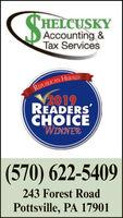 HELCUSKYAccounting &Tax ServicesREPULICAN HERALD2019READERSCHOICEWINNER(570) 622-5409243 Forest RoadPottsville, PA 17901 HELCUSKY Accounting & Tax Services REPULICAN HERALD 2019 READERS CHOICE WINNER (570) 622-5409 243 Forest Road Pottsville, PA 17901