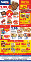 Save3 Day MeatSuper Sale!Prices good Thursday, March 19,Friday, March 20 and Saturday, March 213.991.39.PorkwowSpareIb Ribswas 2.49Fresh Beef T-Bone SteakFamily PackWOWwow6 fresh picks Fresh Pork ButtSplit Chicken Breast this week only s weoen1.49. wow1.69. ow3ibFresh Bone-inbag6.99was 7.99eaState Street Poultry Chicken wingsFREEKurtzHot Sauce1.69. 1.99. 99 oth the parchase of State Street PoultryChicken wingeRed Seedless OrapesRusset PotatoesRoma Tomatoesweekly wowbig savings this week only!Get more. Spend less.2.99.this week only99*eaFarmingtonBratwurst orItalian Sausage19 oz. Assorted Varietleswas 1.49Pepsi Productspeps 2 Liters2/$42ibbagbagwas 2.795.692.996.99Lay's Potato Chips15 Atedwhiting FilletsSwal FiletsPortside Cooked Shrimpprice dropNew loweron your favorites8959*1.29was 95waswas 1.39JUICEBanquet Pot PiesTOL Aorted varietiesPickwell FarmsMushroomsTipton Grove100% Apple JulceGARLICBREAD1.792.79Oatmlwas 189was 2.991.79Grissom'sGarlic BreadKiggins Oatmeal10-PackSo CheesyShells & Cheese4-Packwas 1.89100% Money Back GuaranteeFind your nearest Save A Lot at savealot.comWe accopt SNAP and EBT.CROSS LANES WVSISSONVILLE WV7703 SISSONVILLE DR  45103Wednesdays are Senior Days - 5% Discount for 55 & Over!SCOTT DEPOT, WV6420 TEAYS VALLEY RD  24947901 CROSS LANES DR  45054Ad prices good March 18 - March 24 - Open 7 Days a Week 8 am - 9 pm020Moran foods. C Al Save 3 Day Meat Super Sale! Prices good Thursday, March 19, Friday, March 20 and Saturday, March 21 3.99 1.39. Pork wow Spare Ib Ribs was 2.49 Fresh Beef T-Bone Steak Family Pack WOW wow 6 fresh picks Fresh Pork Butt Split Chicken Breast this week only s weoen 1.49. wow 1.69. ow 3ib Fresh Bone-in bag 6.99 was 7.99 ea State Street Poultry Chicken wings FREE Kurtz Hot Sauce 1.69. 1.99. 99 o th the parchase of State Street Poultry Chicken winge Red Seedless Orapes Russet Potatoes Roma Tomatoes weekly wow big savings this week only! Get more. Spend less. 2.99. this week only 99* ea Farmington Bratwurst or Italian Saus