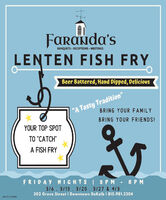 "Faranda'sLENTEN FISH FRYBANQUETS · RECEPTIONS MEETINGSBeer Battered, Hand Dipped, Delicious""A Tasty Tradition""BRING YOUR FAMILYBRING YOUR FRIENDS!YOUR TOP SPOTTO ""CATCH""A FISH FRYFRIDAY NIGHTS I 5 P M - 8PM316, 3/13 . 3/20.3/27 & 4/3302 Grove Street I Downtown DeKalb 1 815.981.3304SM-CL1753485 Faranda's LENTEN FISH FRY BANQUETS · RECEPTIONS MEETINGS Beer Battered, Hand Dipped, Delicious ""A Tasty Tradition"" BRING YOUR FAMILY BRING YOUR FRIENDS! YOUR TOP SPOT TO ""CATCH"" A FISH FRY FRIDAY NIGHTS I 5 P M - 8PM 316, 3/13 . 3/20.3/27 & 4/3 302 Grove Street I Downtown DeKalb 1 815.981.3304 SM-CL1753485"