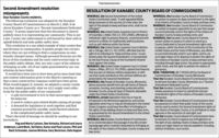 """Paid AdvertisementSecond Amendment resolutionRESOLUTION OF KANABEC COUNTY BOARD OF COMMISSIONERSmisrepresentsDear Kanabec County residents,The following resolution was adopted by the KanabecCounty Board of Commissioners on March 3, 2020. It de-clares Kanabec County as a """"Second Amendment DedicatedCounty."""" It seems important that this document is sharedpublicly since it is representing our community. This is nota law. County law enforcement is still bound by their oath touphold federal and state public safety laws.This resolution is a one-sided example of what creates fearand division in communities. It pushes people into cornerswhere they are not willing to find a compromise on emo-tionally charged issues. Although personal firearms are thefocus of this resolution and the most controversial topicthe public safety debate, they are only a part of the solutionof keeping us safe. All of our rights guaranteed by our con-stitution do have limits.It would have been nice to have been given more lead timeand content information prior to the March 3 meeting sothat a more constructive response could have been given.What would happen if, instead, we adopted a county resolu-tion that stated generally what we ALL might want collec-tively for the public safety of our community?A safe environment to live in that encourages respect-WHEREAS, the Second Amendment of the UnitedStates Constitution reads: """"A well regulated Militia,being necessary to the security of a free state, theright of the people to keep and bear arms, shall not beinfringed,""""WHEREAS, the United States Supreme Court in Districtof Columbia v. Heller, 554 U.S. 570 (2008), affirmed anindividual's right to possess firearms, unconnected withservice in a militia, for traditionally lawful purposes,such as self-defense within the home;WHEREAS, the United States Supreme Court in McDon-ald v. Chicago, 561 U.S. 742 (2010), affirmed that theright of an individual to """"keep and bear arms,"""" as pro-tected under the Second Amendment,"""