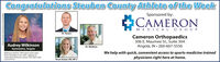Congratulations Steuben County Athlete of the WeekSponsored by:|CAMERONMEDICAL GROUPDr. RosenCameron Orthopaedics306 E. Maumee St., uite 304Angola, IN  260-667-5556We help with quick, convenient access to sports-medicine trainedphysicians right here at home.Audrey WilkinsonGymnastics, AngolaDr. WaldronWikinson tied for 19th place at the statefinals Saturday in the vault, capping animpressive freshman season. She had a bestscore of 9.35.Taryn Kaiser, RN, NP-CPhoto courteny of BowenAmow Photography Congratulations Steuben County Athlete of the Week Sponsored by: |CAMERON MEDICAL GROUP Dr. Rosen Cameron Orthopaedics 306 E. Maumee St., uite 304 Angola, IN  260-667-5556 We help with quick, convenient access to sports-medicine trained physicians right here at home. Audrey Wilkinson Gymnastics, Angola Dr. Waldron Wikinson tied for 19th place at the state finals Saturday in the vault, capping an impressive freshman season. She had a best score of 9.35. Taryn Kaiser, RN, NP-C Photo courteny of BowenAmow Photography