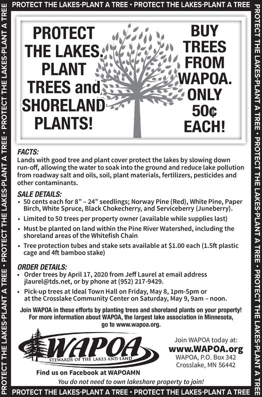 """PROTECT THE LAKES-PLANT A TREE  PROTECT THE LAKES-PLANT A TREEPROTECTTHE LAKESPLANTTREES andSHORELANDPLANTS!BUYTREESFROMWAPOA.ONLY50¢EACH!FACTS:Lands with good tree and plant cover protect the lakes by slowing downrun-off, allowing the water to soak into the ground and reduce lake pollutionfrom roadway salt and oils, soil, plant materials, fertilizers, pesticides andother contaminants.SALE DETAILS: 50 cents each for 8"""" - 24"""" seedlings; Norway Pine (Red), White Pine, PaperBirch, White Spruce, Black Chokecherry, and Serviceberry (Juneberry). Limited to 50 trees per property owner (available while supplies last)Must be planted on land within the Pine River Watershed, including theshoreland areas of the Whitefish ChainTree protection tubes and stake sets available at $1.00 each (1.5ft plasticcage and 4ft bamboo stake)ORDER DETAILS:Order trees by April 17, 2020 from Jeff Laurel at email addressjlaurel@tds.net, or by phone at (952) 217-9429. Pick-up trees at Ideal Town Hall on Friday, May 8, 1pm-5pm orat the Crosslake Community Center on Saturday, May 9, 9am - noon.Join WAPOA in these efforts by planting trees and shoreland plants on your property!For more information about WAPOA, the largest lake association in Minnesota,go to www.wapoa.org.WAPOAJoin WAPOA today at:www.WAPOA.orgWAPOA, P.O. Box 342Crosslake, MN 56442STEWARDS OF THE LAKES AND LANDFind us on Facebook at WAPOAMNYou do not need to own lakeshore property to join!PROTECT THE LAKES-PLANT A TREE  PROTECT THE LAKES-PLANT A TREEPROTECT THE LAKES-PLANT A TREE  PROTECT THE LAKES-PLANT A TREE  PROTECT THE LAKES-PLANT A TREEPROTECT THE LAKES-PLANT A TREE  PROTECT THE LAKES-PLANT A TREE  PROTECT THE LAKES-PLANT A TREE PROTECT THE LAKES-PLANT A TREE  PROTECT THE LAKES-PLANT A TREE PROTECT THE LAKES PLANT TREES and SHORELAND PLANTS! BUY TREES FROM WAPOA. ONLY 50¢ EACH! FACTS: Lands with good tree and plant cover protect the lakes by slowing down run-off, allowing the water to soak into the ground and reduce lake pollution"""