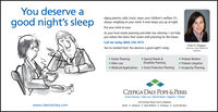 """You deserve agood night's sleepAging parents, wills, trusts, taxes, your children's welfare. It'salways weighing on your mind. It even keeps you up at night.Put your mind at ease.As your local estate planning and elder law attorney, I can helpyou reduce the stress that comes with planning for the future.Call me today (860) 236-7673.Erin O. DuquesYou've worked hard. You deserve a good night's sleep.Attorney and Madisonresident"""" Estate Planning- Elder Law"""" Special Needs &Disability Planning- Probate Matters- Probate LitigationMedicaid Applications Asset Protection Planning Incapacity PlanningCZEPIGA DALY POPE &PERRIEstate Planning 