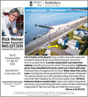 William Sotheby'sPittINTERNATIONAL REALTY446 Maple Avenue I Old SaybrookRick WeinerBroker Associate860.227.3191rweiner@wpsir.comTop 15Company-WideCT, MA, NY2019Life IS better at the Beach! Enjoy unobstructed water views andenviable Knollwood Beach Association living year-round fromthis immaculate home. A private sandy beach and waterfrontwalkway are both just across the street. The association clubhouse,picnic area, basketball and tennis courts are a short walk away.Hardwood floors throughout the first floor. Water views from everyroom, including the well-equipped kitchen with Subzero refrigerator.The spacious family room with cathedral ceiling and nearby diningroom both offer fireplaces for off-summer season cheer. All threeLicensed Real Estate Broker bedrooms feature ensuite baths. Indoor and outdoor living blendConnecticut · New York seamlessly. Easy entertaining with both a patio and deck overlookinga large level lot. Take the next step and make this home yours!Offered at $1,150,000$625,000,000.+in Sales Since 1997HawaiiESSEX BROKERAGE | 13 MAIN STREET | 860.767.7488 | OLD LYME | BROKERAGE | 103 HALLS ROAD | 860.434.240065 COUNTRIES |20.000 SALES ASSOCIATES | 850 OFFICES ESSEX | MANHATTAN | BEIJING | OLD LYME | PARIS | HAWAIIEach Office is Independently Owned and Operated, Equal Housing Opportunity. William Sotheby's Pitt INTERNATIONAL REALTY 446 Maple Avenue I Old Saybrook Rick Weiner Broker Associate 860.227.3191 rweiner@wpsir.com Top 15 Company-Wide CT, MA, NY 2019 Life IS better at the Beach! Enjoy unobstructed water views and enviable Knollwood Beach Association living year-round from this immaculate home. A private sandy beach and waterfront walkway are both just across the street. The association clubhouse, picnic area, basketball and tennis courts are a short walk away. Hardwood floors throughout the first floor. Water views from every room, including the well-equipped kitchen with Subzero refrigerator. The spacious family room with cathedral ceiling and nearby dining room both offer fireplaces for off-summer season cheer. All three Licensed Real Estate Broker bedrooms feature ensuite baths. Indoor and outdoor living blend Connecticut · New York seamlessly. Easy entertaining with both a patio and deck overlooking a large level lot. Take the next step and make this home yours! Offered at $1,150,000 $625,000,000.+ in Sales Since 1997 Hawaii ESSEX BROKERAGE | 13 MAIN STREET | 860.767.7488 | OLD LYME | BROKERAGE | 103 HALLS ROAD | 860.434.2400 65 COUNTRIES |20.000 SALES ASSOCIATES | 850 OFFICES ESSEX | MANHATTAN | BEIJING | OLD LYME | PARIS | HAWAII Each Office is Independently Owned and Operated, Equal Housing Opportunity.