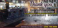 Thank youBEERyoufor voting us Bingham.County'sBest Bar and Restaurant Service!In celebration we're running Happy Hour all day today!GROVE CITYWINE GARDENBEER PUB & GRILL310 N Meridian St b, Blackfoot, ID 83221  (208)785-3096LIGHTRADLER] Thank you BEER you for voting us Bingham.County's Best Bar and Restaurant Service! In celebration we're running Happy Hour all day today! GROVE CITY WINE GARDEN BEER PUB & GRILL 310 N Meridian St b, Blackfoot, ID 83221  (208)785-3096 LIGHT RADLER]