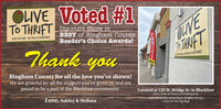 OLIVE Voted #1To THRIFTCAVETARIFTDiscount Store inBEST of Bingham CountyReader's Choice Awards!(208) 201-Bolo - WE PIOK UP DONATIONSIThank youBingham County for all the love you've shown!We are grateful for all the support you've given us and areproud to be a part of the Blackfoot community.Located at 123 W. Bridge St. in Blackfoot(Next door to Downtown Bread Co.and across the street from Tanglez Salon)Love, Ashley & MelissaLook for the big flag! OLIVE Voted #1 To THRIFT CAVE TARIFT Discount Store in BEST of Bingham County Reader's Choice Awards! (208) 201-Bolo - WE PIOK UP DONATIONSI Thank you Bingham County for all the love you've shown! We are grateful for all the support you've given us and are proud to be a part of the Blackfoot community. Located at 123 W. Bridge St. in Blackfoot (Next door to Downtown Bread Co. and across the street from Tanglez Salon) Love, Ashley & Melissa Look for the big flag!