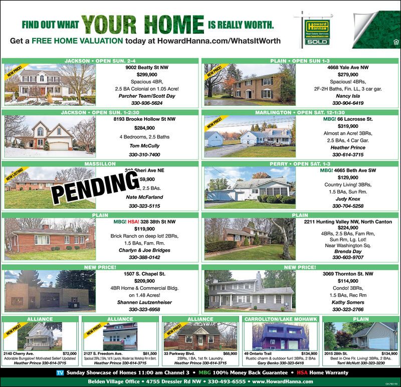 FIND OUT WHAT YOUR HOME IS REALLY WORTH.TOwardLannaPltata ervGet a FREE HOME VALUATION today at HowardHanna.com/WhatsitWorthSOLDJACKSON  OPEN SUN. 2-49002 Beatty St NwPLAIN OPEN sUN 1-3NEW PRICE4668 Yale Ave NW$299,900Spacious 4BR,$279,900Spacious! 4BRS,2F-2H Baths, Fin. LL, 3 car gar.2.5 BA Colonial on 1.05 Acre!Parcher Team/Scott Day330-936-5624Nancy Isla330-904-6419JACKSON  OPEN SUN. 1-2:30MARLINGTON OPEN SAT. 12-1:308193 Brooke Hollow St NWMBG! 66 Lacrosse St.$284,900NEW PRICE$319,9004 Bedrooms, 2.5 BathsAlmost an Acre! 3BRS,Tom McCully2.5 BAS, 4 Car Gar.330-310-7400Heather PrinceMASSILLON330-614-371531A Sheri Ave NEPERRY OPEN SAT. 1-3NEW LISTINGEMBG! 4665 Beth Ave SW59,900$129,900PENDING2.5 BAS.Country Living! 3BRS,Nate McFartand1.5 BAS, Sun Rm.330-323-5115Judy Knox330-704-5258PLAINMBG! HSA! 328 38th St NWPLAIN2211 Hunting Valley NW, North Canton$224,9004BRS, 2.5 BAS, Fam Rm,Sun Rm, Lg. Lot!Near Washington Sq.Brenda Day$119,900Brick Ranch on deep lot! 2BRS,1.5 BAS, Fam, Rm.Charlyn & Joe Bridges330-388-0142330-603-9707NEW PRICE!1507 S. Chapel St.NEW PRICE!3069 Thornton St. NW$209,9004BR Home & Commercial Bldg.$114,900Condo! 3BRS,on 1.48 Acres!Shannen Lautzenheiser1.5 BAS, Rec Rm330-323-6958Kathy SomersALLIANCE330-323-2766ALLIANCEALLIANCECARROLLTON/LAKE MOHAWKPLAINHEW PRICENEW PRICE!2140 Cherry Ave.Adorable Bungalow! Motivated Selerl Updates!Heather Prince 330-614-3715$72,0002127 S. Freedom Ave.$81,50033 Parkway Blvd.S68,9002BRS, I BA, 1st fr. Laundry.Heather Prince 330-614-371549 Ontario Trail$134,900Rustic charm & outdoor funt 3BRS, 2 BAS2015 28th St.$134,900Best in One Fir. Living! 3BRS, 2 BAS.Terri McNutt 330-323-3230Heather Prince 330-614-3715Gary Benko 330-323-6418TV Sunday Showcase of Homes 11:00 am Channel 3  MBG 100% Money Back Guarantee  HSA Home WarrantyBelden Village Office  4755 Dressler Rd NW  330-493-6555  www.HowardHanna.com FIND OUT WHAT YOUR HOME IS REALLY WORTH. TOward Lanna Pltata erv Get a FREE HOME VALUATION today at HowardHanna.com/WhatsitW