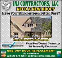 INJ CONTRACTORS, LLCNEEDA NEW ROOF?Have Your Shingles Seen Better Days?BeforeFree EstimatesoFully InsuredAfterVoted Best/General ContractorStandard SpeakerReaders Choice Awards20191st Runner Up/ElectricianStantaripaata.com eadenne eONE DAY ROOF REPLACEMENTVISADISCOVERLic. #PA062801MasterCare Call 570-579-3264  Jed@jnj-contractors.com INJ CONTRACTORS, LLC NEEDA NEW ROOF? Have Your Shingles Seen Better Days? Before Free EstimatesoFully Insured After Voted Best/General Contractor Standard Speaker Readers Choice Awards 2019 1st Runner Up/Electrician Stantaripaata.com eadenne e ONE DAY ROOF REPLACEMENT VISA DISCOVER Lic. #PA062801 MasterCare Call 570-579-3264  Jed@jnj-contractors.com