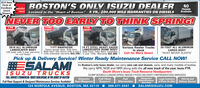 "2018 IsuzuCircle ofExcellenceAwardWinner!BOSTON'S ONLY ISUZU DEALER 40Located in the ""Heart of Boston, 5 YR., 200,000 MILE WARRANTIES ON DIESELSChassisAvailableNEVER TOO EARLY TO THINK SPRING!S YEARWARRANTYEXTENDEDWARRANTYS YEARWARRANTY2018 ALL ALUMINUMLANDSCAPER BODY12ft body with 5 year warranty.no rust body!11FT KNAPHEIDEHeavy gauge steel. Side door.With barn rear doors with 5 year